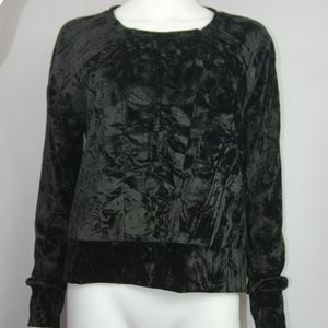 NWT Free Press Black Velour Crewneck Sweater Sz M